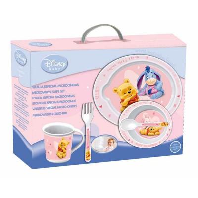 Набор для СВЧ: тарелка + миска + кружка + приборы (розовый). Винни-пух