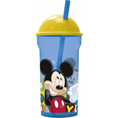 Стакан пластиковый с соломинкой и крышкой-полусферой (прозрачный, 460 мл). Микки Маус Символы