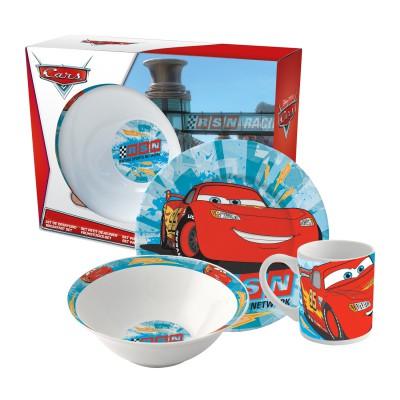 Набор посуды керамической в подарочной упаковке (3 предмета). Тачки