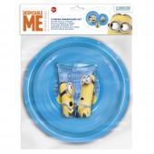 Набор пластиковой посуды из 3-х предметов (тарелка, миска, стакан). Миньоны Правила