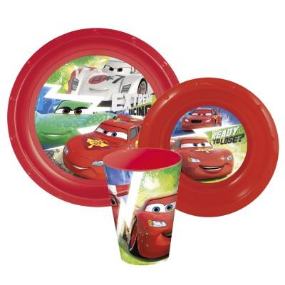 Набор пластиковой посуды из 3-х предметов (тарелка, миска, стакан). Тачки Грани гонок