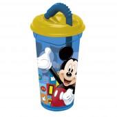 Стакан пластиковый с соломинкой и крышкой (прозрачный, 400 мл). Микки Маус Символы
