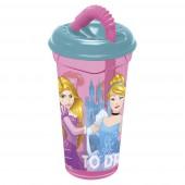 Стакан пластиковый с соломинкой и крышкой (прозрачный, 400 мл). Принцессы Дружные приключения