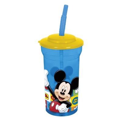 Стакан пластиковый с соломинкой и крышкой (прозрачный, 460 мл). Микки Маус Символы
