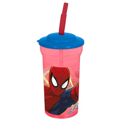 Стакан пластиковый с соломинкой и крышкой (прозрачный, 460 мл). Человек-паук Красная паутина