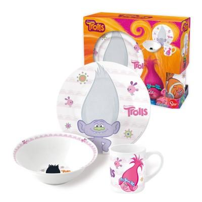 Набор посуды керамической в подарочной упаковке (3 предмета). Тролли