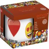 Кружка керамическая в подарочной упаковке (325 мл). Эмодзи I love you