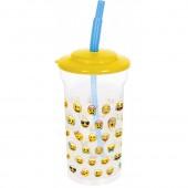 Стакан пластиковый с соломинкой и крышкой (прозрачный, 460 мл). Эмодзи Лица