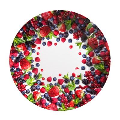 Набор бумажных тарелок Ягоды, 6 шт, d=180 мм, в т/у пленке+ч/б стикер