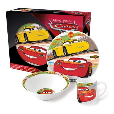 Набор посуды керамической в подарочной упаковке (3 предмета). Тачки 3