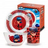 """Набор """"Леди Баг и Супер Кот"""" Дизайн 2, (3 предмета, подарочная упаковка), стекло"""