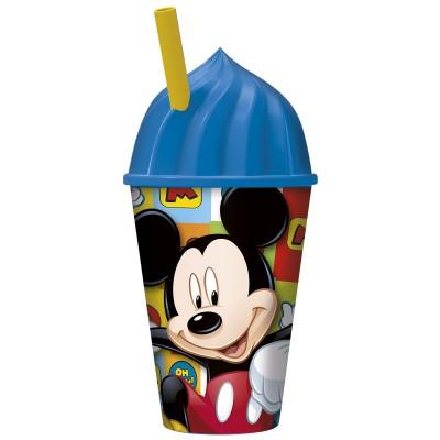 Стакан пластиковый с соломинкой и объемной крышкой в виде мороженного (430 мл). Микки Маус Символы