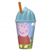Стакан пластиковый с соломинкой и объемной крышкой в виде мороженного (430 мл). Свинка Пеппа