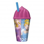 Стакан пластиковый с соломинкой и объемной крышкой в виде мороженного (430 мл). Принцессы Дружные приключения