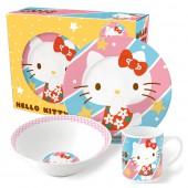 Набор посуды керамической в подарочной упаковке (№4, 3 предмета). Hello Kitty