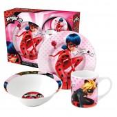 Набор посуды керамической в подарочной упаковке (3 предмета). Леди Баг и Супер Кот