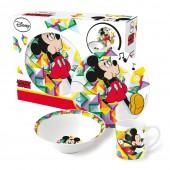 Набор посуды керамической в подарочной упаковке (3 предмета). Микки Цветовой поток