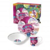Набор посуды керамической в подарочной упаковке (3 предмета). Тролли Краски