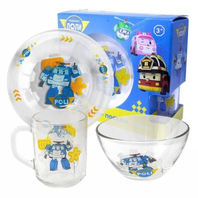 """Набор """"Робокар Поли"""" Поли (матовый), (3 предмета, подарочная упаковка), стекло"""