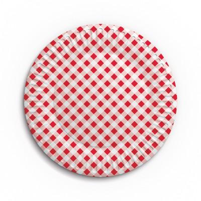 Набор бумажных тарелок Клетка, 6 шт, d=230 мм