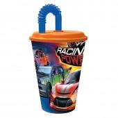 Стакан пластиковый с соломинкой и крышкой (спортивный, 430 мл). Сила гонок