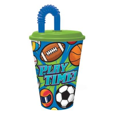 Стакан пластиковый с соломинкой и крышкой (спортивный, 430 мл). Спорт