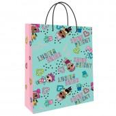 LOL. Пакет подарочный большой (мятный с розовым), 220*310*100 мм