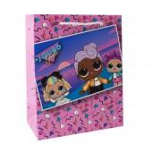 LOL. Пакет подарочный малый (розовый паттерн с картинкой), 180*227*100 мм