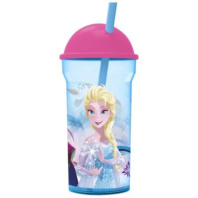 Стакан пластиковый с соломинкой и крышкой-полусферой (прозрачный, 460 мл). Холодное сердце. Радужная вода