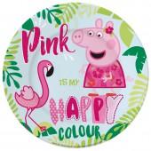 Тарелка керамическая. Свинка Пеппа и Фламинго