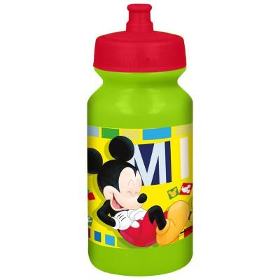 Бутылка пластиковая с выдвижным  поильником (спортивная 340 мл). Микки Маус Акварель