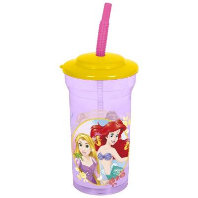 Стакан пластиковый с соломинкой и крышкой (прозрачный, 460 мл). Принцессы Навсегда