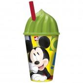 Стакан пластиковый с соломинкой и объемной крышкой в виде мороженного (430 мл). Микки Маус Акварель