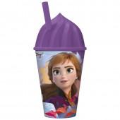 Стакан пластиковый с соломинкой и объемной крышкой в виде мороженного (430 мл). Холодное сердце 2