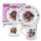 L.O.L. Surprise! Набор посуды «Дизайн 1», в подарочной упаковке (3 предмета), стекло