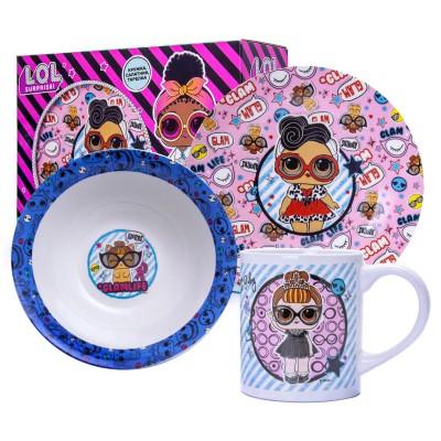 Набор посуды L.O.L. GLAM  (Л.О.Л. ГЛЭМ), 3 предмета, фарфор