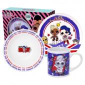Набор посуды L.O.L. ROCK   (Л.О.Л. РОК), 3 предмета, фарфор