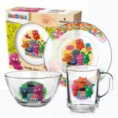 "Набор посуды ""Куклы"" Дизайн 2 (3 предмета: кружка, салатник, тарелка), стекло"