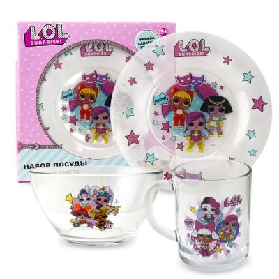 L.O.L. Surprise! Набор посуды «Дизайн 2», в подарочной упаковке (3 предмета), стекло