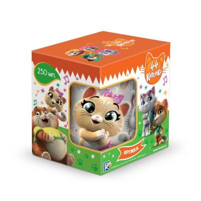 """Кружка """"44 Котенка"""", (подарочная упаковка), матовая, 250 мл, стекло"""
