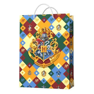 Harry Potter. Пакет подарочный малый (паттерн, Герб Хогвардс), 180*227*100 мм