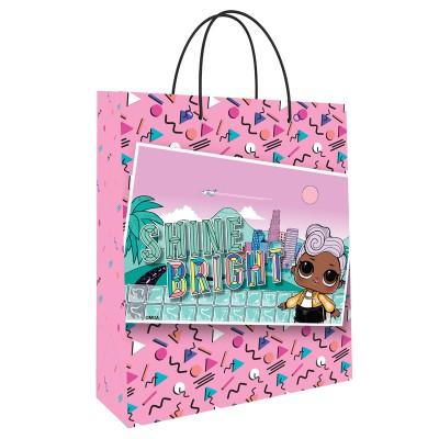 LOL. Пакет подарочный большой (розовый паттерн с картинкой), 335*406*155 мм