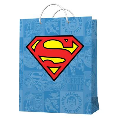 Superman. Пакет подарочный большой (голубой с лого), 220*310*100 мм