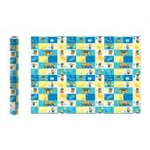 Minions 2. Упаковочная бумага (голубая с желтым), 700*1000 мм, 2 шт в рулоне (3D дизайн)