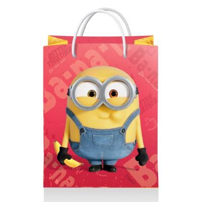 Minions 2. Пакет подарочный малый (желтый с красным), 180*223*100 мм (3D дизайн)