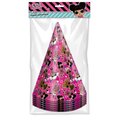 LOL. Набор бумажных колпаков (розовые с паттерном), 6 шт