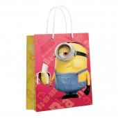 Minions 2. Пакет подарочный большой (желтый с красным), 220*310*100 мм (3D дизайн)