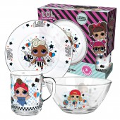 """L.O.L. Surprise! """"Dollsaregogo"""" Набор посуды в подарочной упаковке, (3 предмета), стекло"""