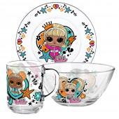 """L.O.L. Surprise! """"WhatUnitesUs"""" Набор посуды в подарочной упаковке, (3 предмета), стекло"""