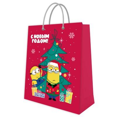 Пакет подарочный большой Миньоны новогодние-2, 264*360*115 мм